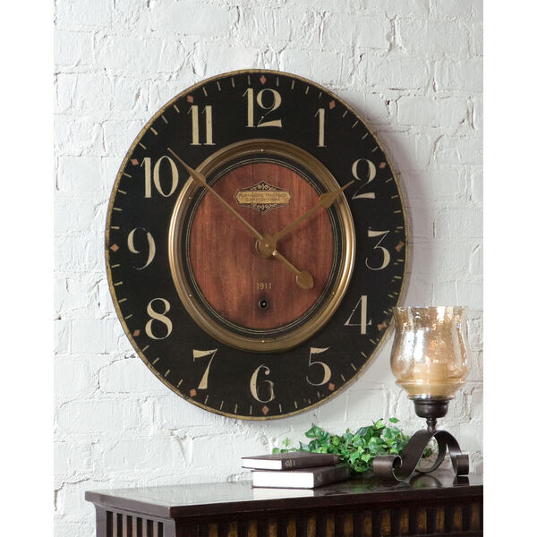 Alexandre Black and Woodtone 30-Inch Wall Clock, image 1