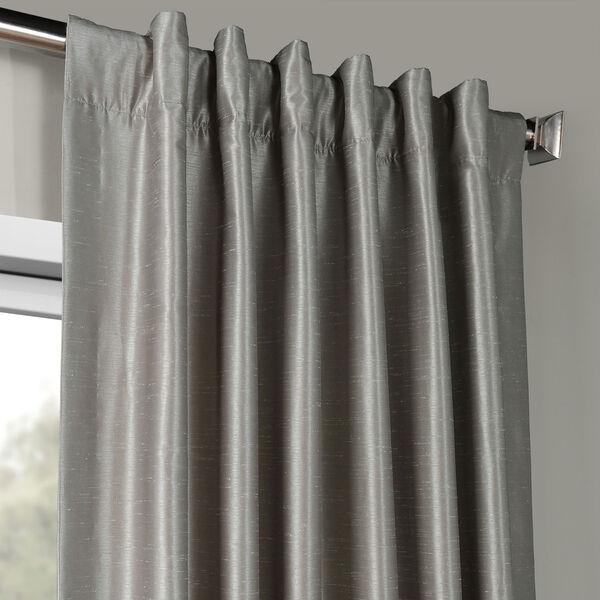 Silver Vintage Textured Faux Dupioni Silk Single Panel Curtain, 50 X 84, image 4