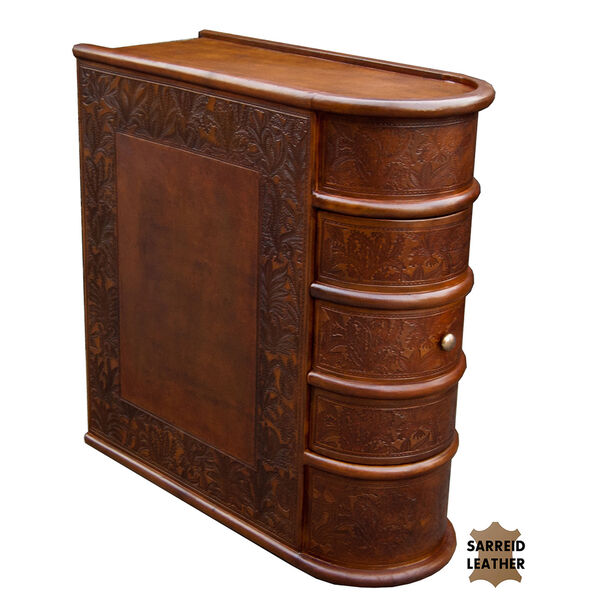 Leather Book Side Table, image 1