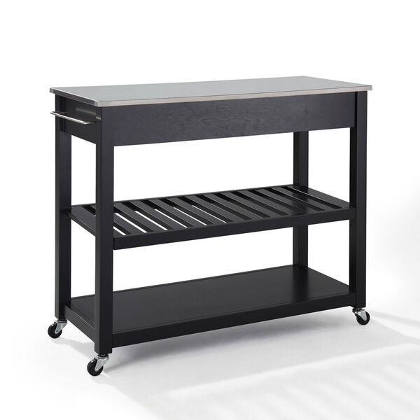 Stainless Steel Top Kitchen Cart/Island With Optional Stool Storage in Black Finish, image 2