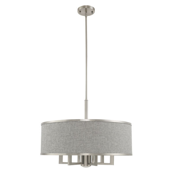 Park Ridge Brushed Nickel 24-Inch Seven-Light Pendant Chandelier with Hand Crafted Gray Hardback Shade, image 2