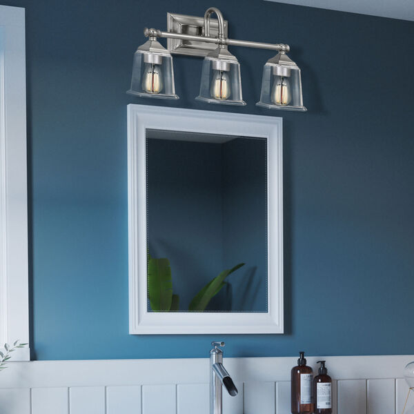 Nicholas Brushed Nickel Three-Light Bath Vanity with Transparent Glass, image 7