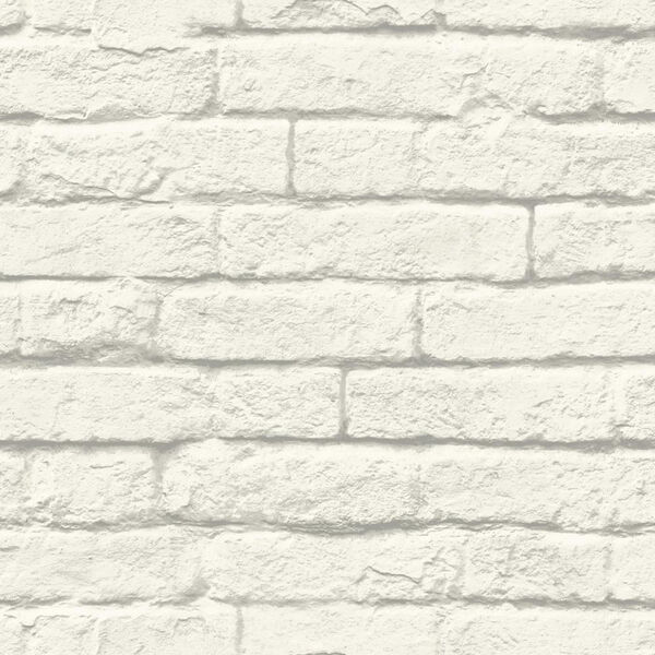 Brick-and-Mortar White and Gray Removable Wallpaper, image 1