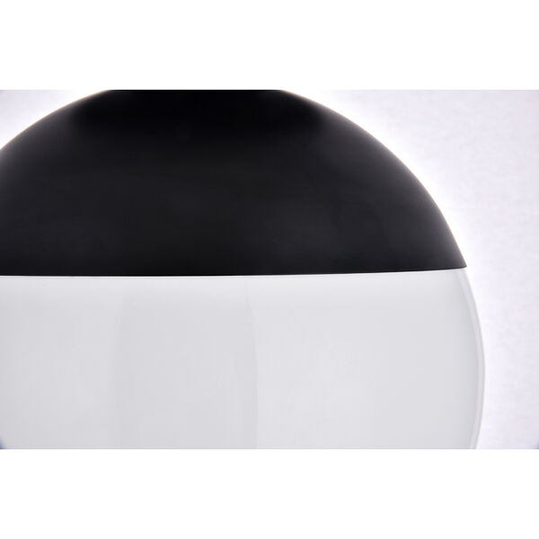 Eclipse Black and Frosted White 12-Inch One-Light Semi-Flush Mount, image 4