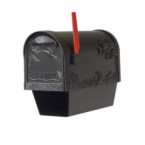 Curbside Black Nine-Inch Hummingbird Mailbox with Newspaper Tube and Baldwin Front Single Mounting Bracket, image 2