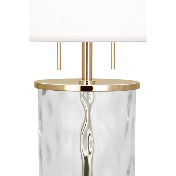 Gloria Modern Brass Two-Light Table Lamp With Oyster Linen Shade, image 2