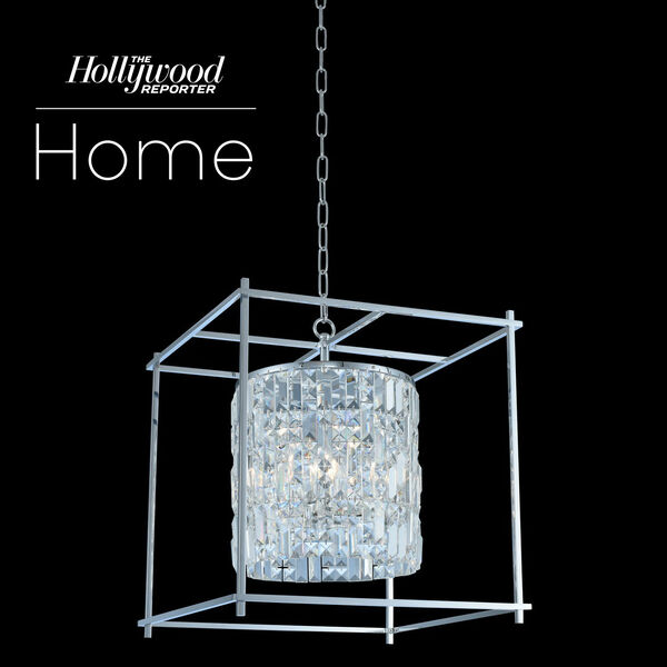 The Hollywood Reporter Joni Chrome 19-Inch Six-Light Pendant with Firenze Crystal, image 1