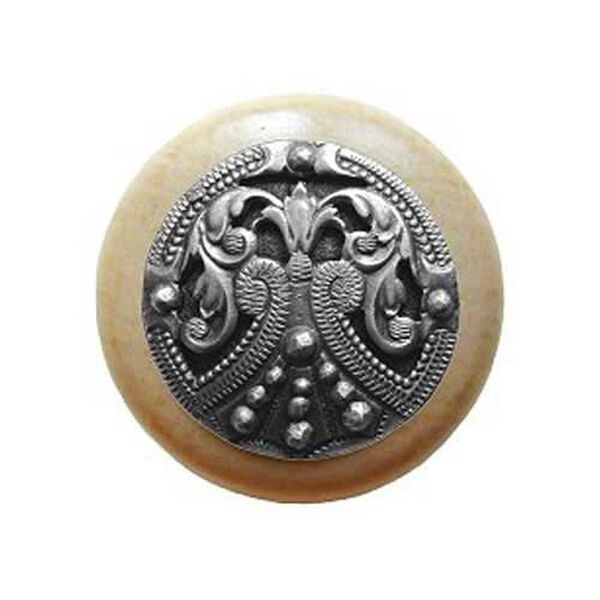 Natural Wood Regal Crest Knob with Antique Pewter, image 1