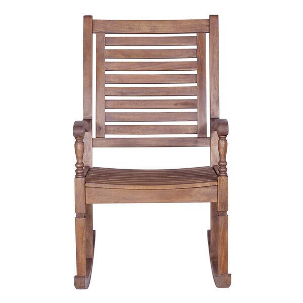 Solid Acacia Wood Rocking Patio Chair, Dark Brown, image 3