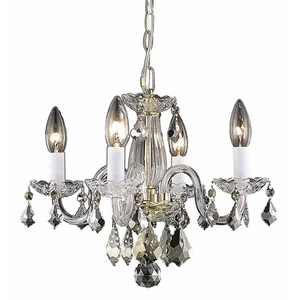 Rococo Gold Four-Light Chandelier with Clear Royal Cut Crystals, image 1