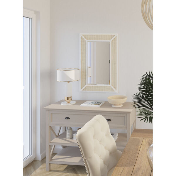 Dani Cane and White Wood 36-Inch x 24-Inch Wall Mirror, image 4