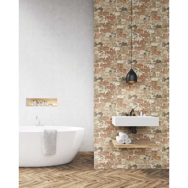 NextWall Weathered Red Brick Peel and Stick Wallpaper, image 1