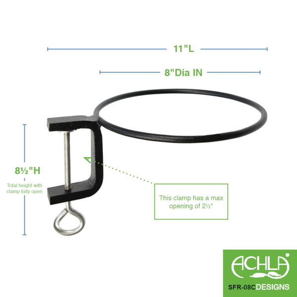 Black Powdercoat 8-Inch Clamp-on Flower Pot Ring, Set of Two, image 2