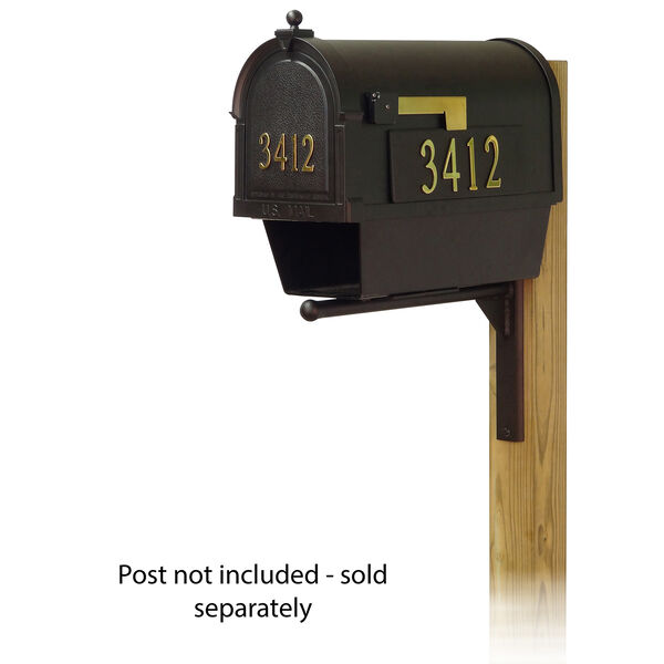 Curbside Black Nine-Inch Mailbox with Newspaper Tube and Ashley Front Single Mounting Bracket, image 1