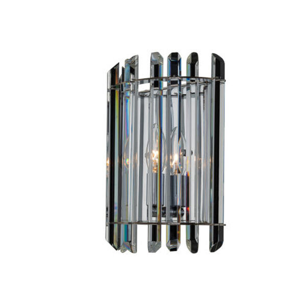 Viano Polished Chrome One-Light Wall Sconce with Firenze Crystal, image 1