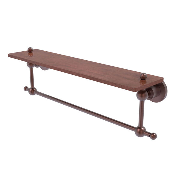 Astor Place Antique Copper 22-Inch Solid IPE Ironwood Shelf with Integrated Towel Bar, image 1