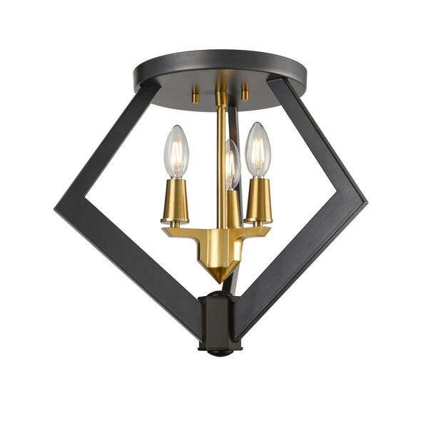 Flechette Brass and Graphite Three-Light Flushmount, image 1