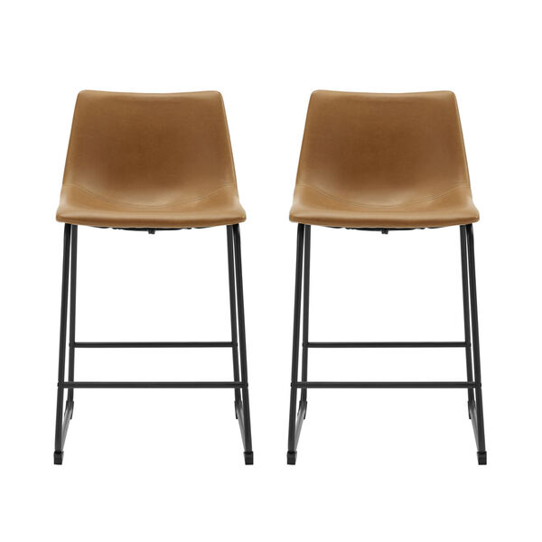 Whiskey Brown Counter Stool, set of 2, image 2