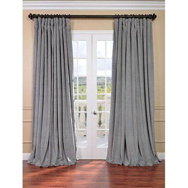 Signature Silver Grey Double Wide Velvet Blackout Pole Pocket Single Panel Curtain, 100 X 120, image 1