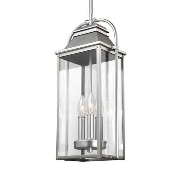 Buchanan Painted Brushed Steel Three-Light Outdoor Pendant Lantern, image 2