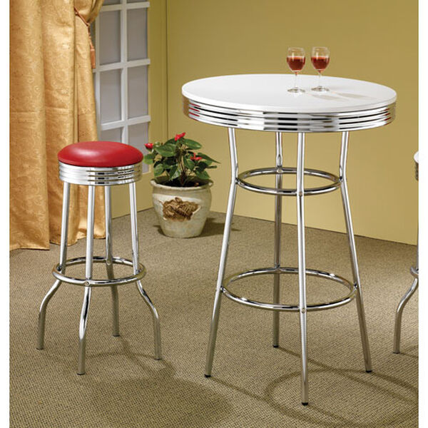 Cleveland Fifties Soda Fountain Chrome Bar Table with White Top, image 2