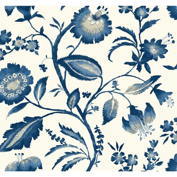 Ashford House Tropics Off-White and Blue Watercolor Jacobean Wallpaper, image 1