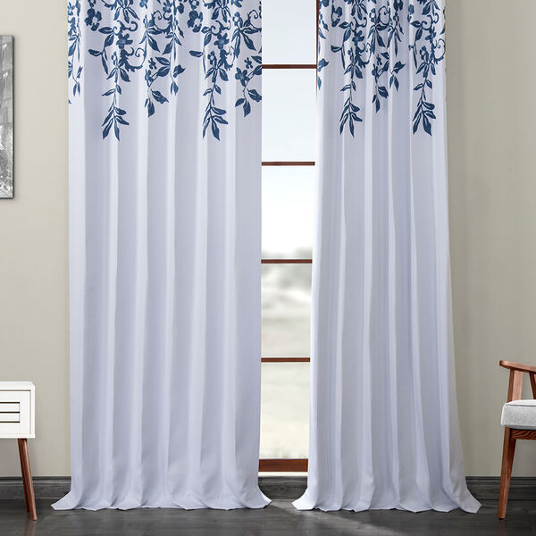 Blue Printed 108 x 50-Inch Polyester Blackout Curtain Single Panel, image 6