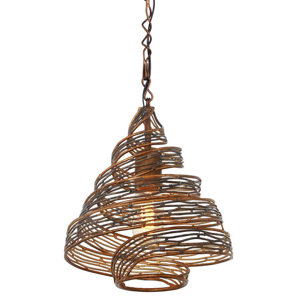 Flow Hammered Ore 12-Inch One Light Mini Pendant, image 1