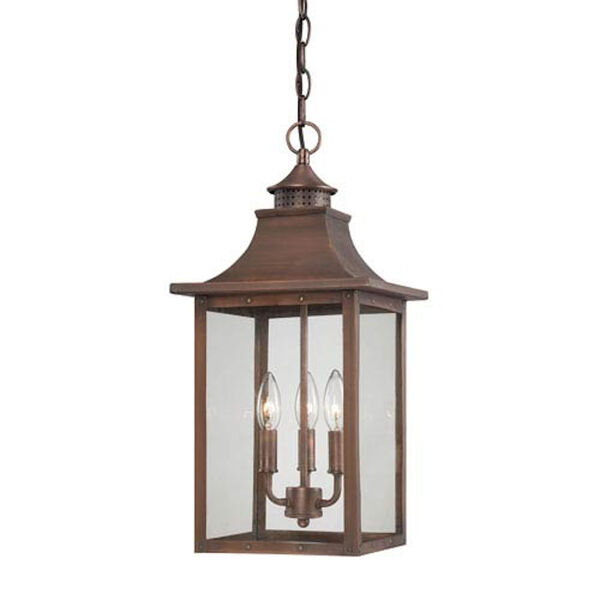 St. Charles Medium Hanging Lantern with Copper Patina Finish, image 1