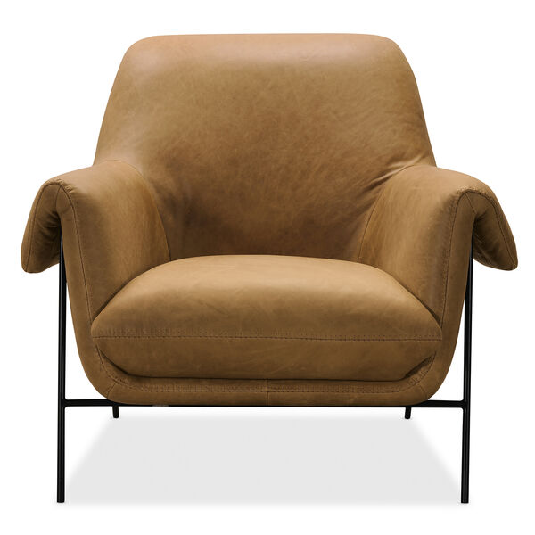 Brown Ambroise Metal Frame Club Chair, image 1