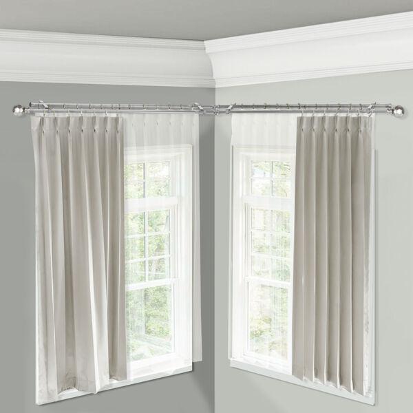 Christiano Satin Nickel 84-Inch Corner Window Double Curtain Rod, image 2