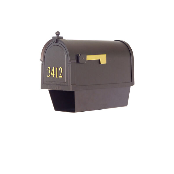 Curbside Black Mailbox with Front Address Numbers and Sorrento Front Single Mailbox Bracket, image 5
