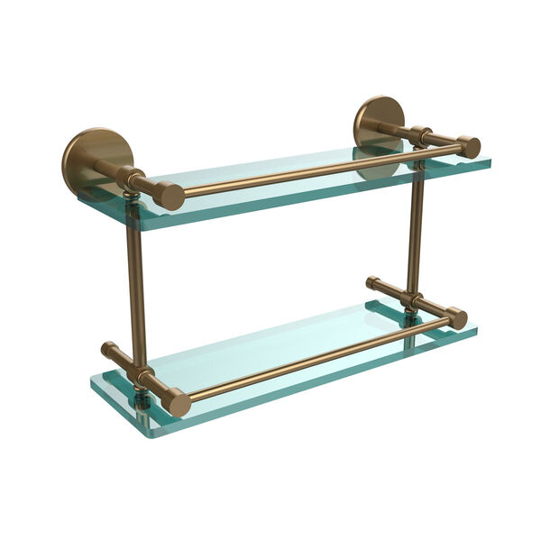 16 Inch Tempered Double Glass Shelf with Gallery Rail, Brushed Bronze, image 1