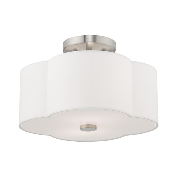 Chelsea Brushed Nickel 13-Inch Two-Light Ceiling Mount with Hand Crafted Off-White Hardback Shade, image 3