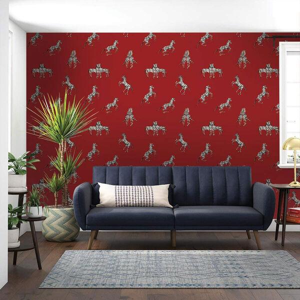Novogratz Red Zebras in Love Love Peel and Stick Wallpaper, image 1
