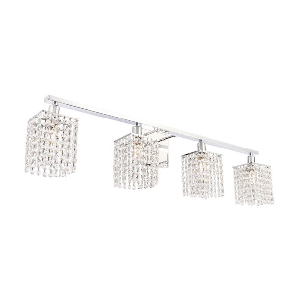 Phineas Chrome Four-Light Bath Vanity with Clear Crystals, image 6