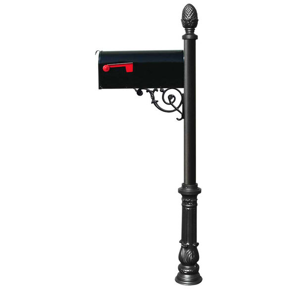 Lewiston Black Post with Support Brace, E1 Economy Mailbox, Ornate Base and Pineapple Finial - (Open Box), image 1
