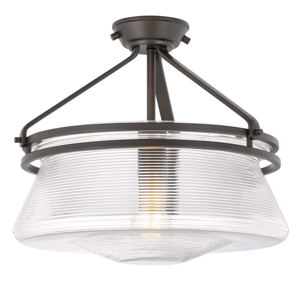 OKeefe Oil Rubbed Bronze One-Light Embossed Glass Semi-Flush Mount, image 4
