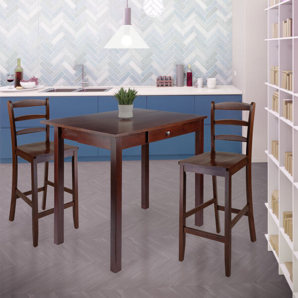 Perrone Walnut Three-Piece Dining Table Set, image 3
