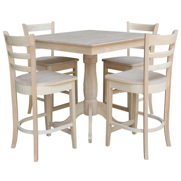 Wood 36-Inch Square Top Pedestal Table with Four Counter Height Stool, Set of Five, image 1