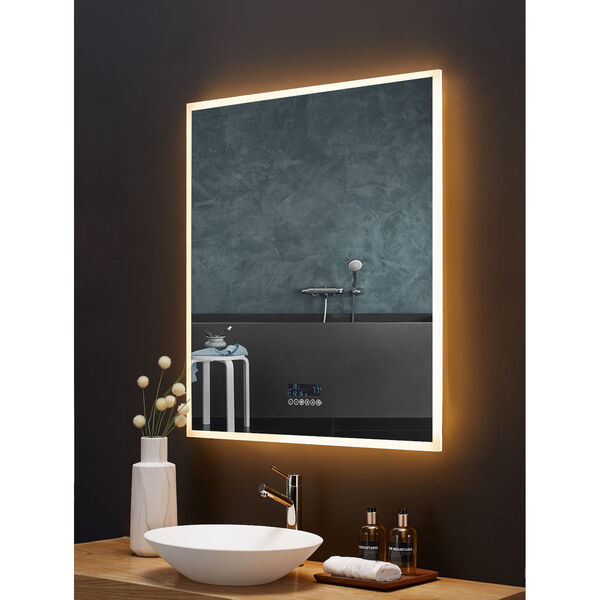 Immersion White 36 x 40 Inch LED Frameless Mirror with Bluetooth Defogger and Digital Display, image 5