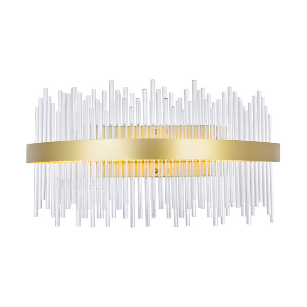 Genevieve Medallion Gold 32-Inch LED Wall Sconce with K9 Clear Crystals, image 1