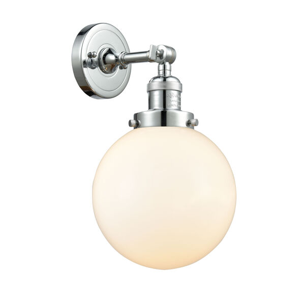 Franklin Restoration Polished Chrome Eight-Inch LED Wall Sconce with Matte White Glass Shade, image 1