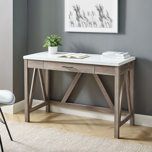 A-Frame Faux White Marble and Grey Wash 46-Inch Computer Desk with Drawer, image 1
