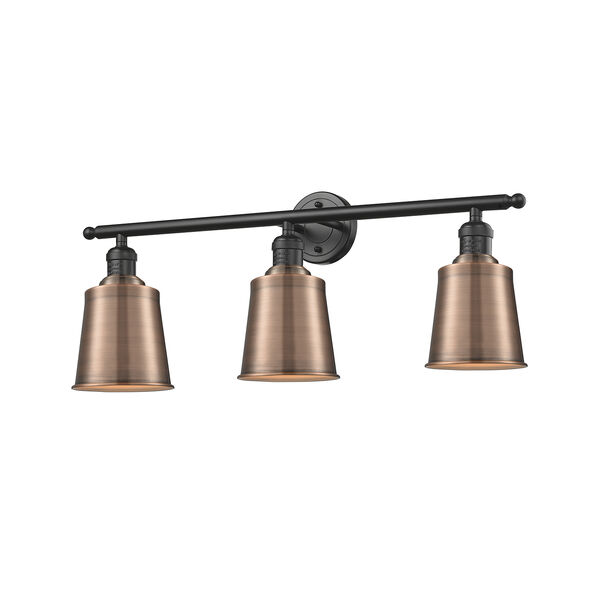 Addison Oiled Rubbed Bronze Three-Light Bath Vanity with Antique Copper Metal Shade, image 1