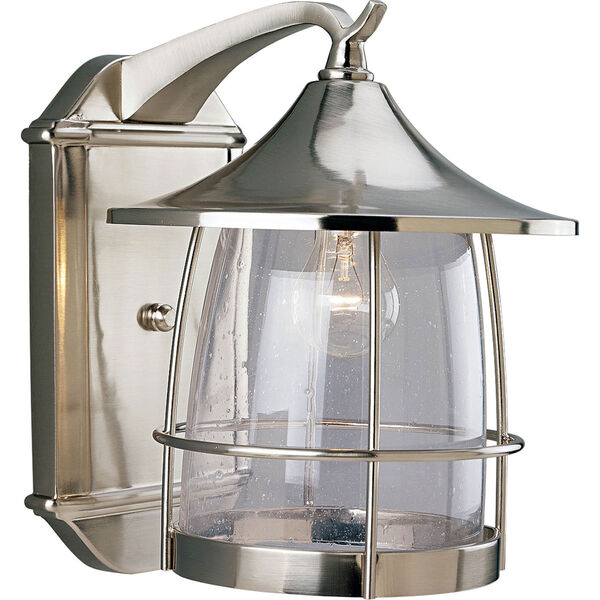P5764-09:  Prairie Brushed Nickel One-Light Outdoor Wall Lantern, image 1
