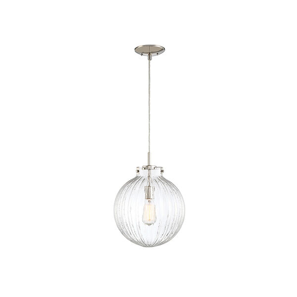 Whittier Polished Nickel One-Light Mini Pendant with Ribbed Glass, image 1