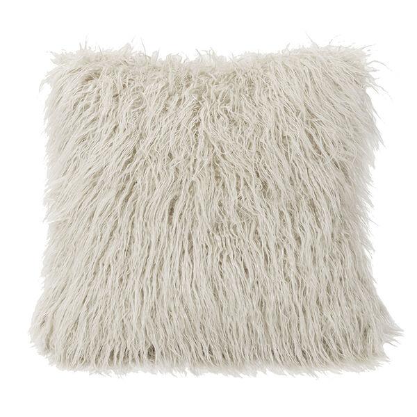 Mongolian White Faux Lamb Fur 18 x 18 In. Throw Pillow, image 1