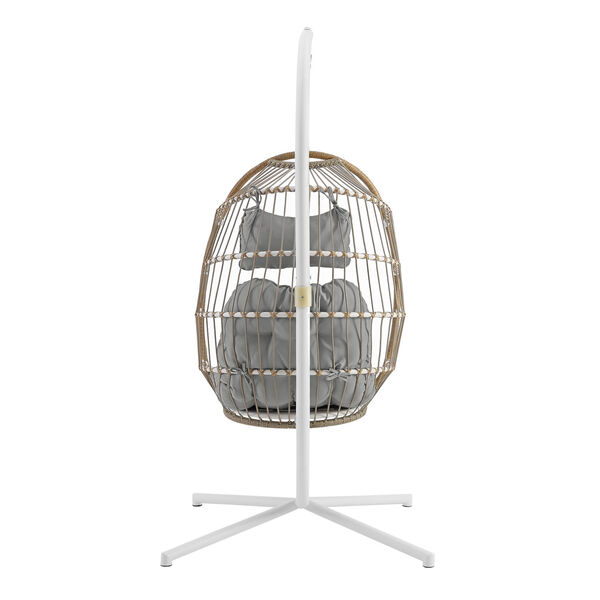 Brown and Gray Outdoor Swing Egg Chair with Stand, image 2