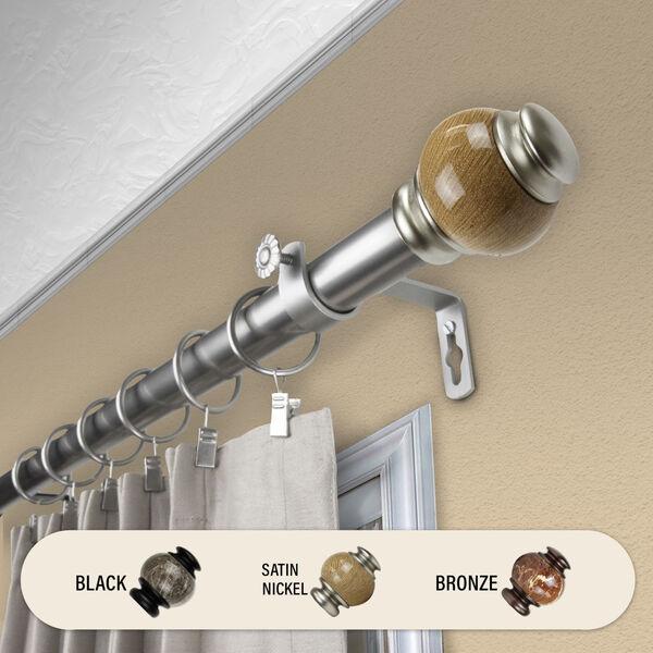 Satin Nickel 48-Inch Marble Curtain Rod, image 2
